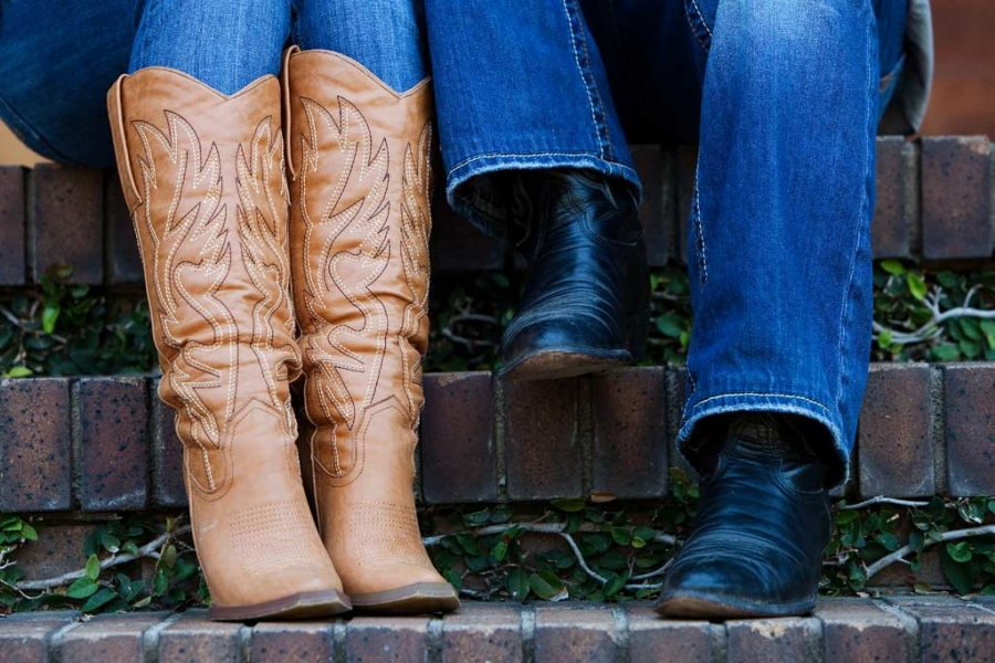 engaged couples couples cowboy boots