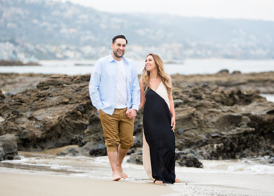 Engaged couple in laguna beach