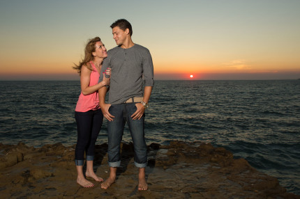 Laguna beach engagement sunset
